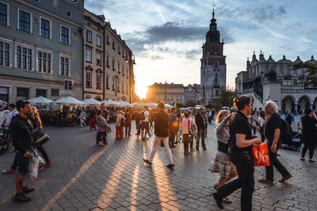 Busy street in Krakow, Poland