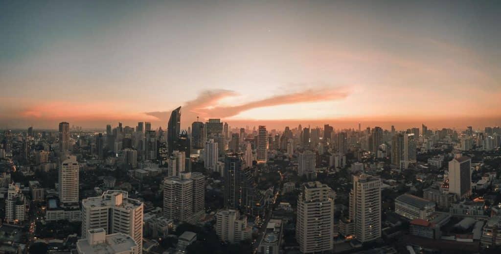 Ultimate Guide to Bangkok Thailand | Sun setting over Bangkok skyline