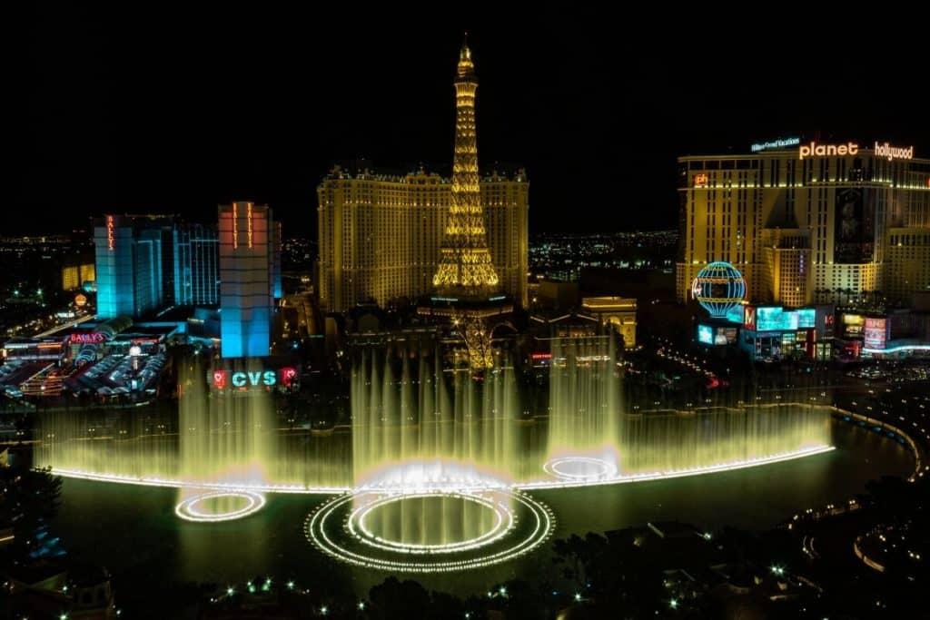 Bellagio Hotel fountains in Las Vegas