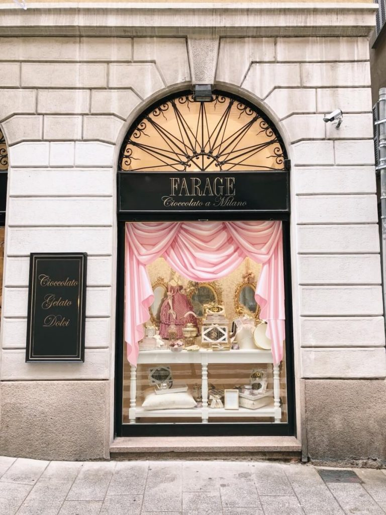 Storefront in the Brera District in Milan, Italy