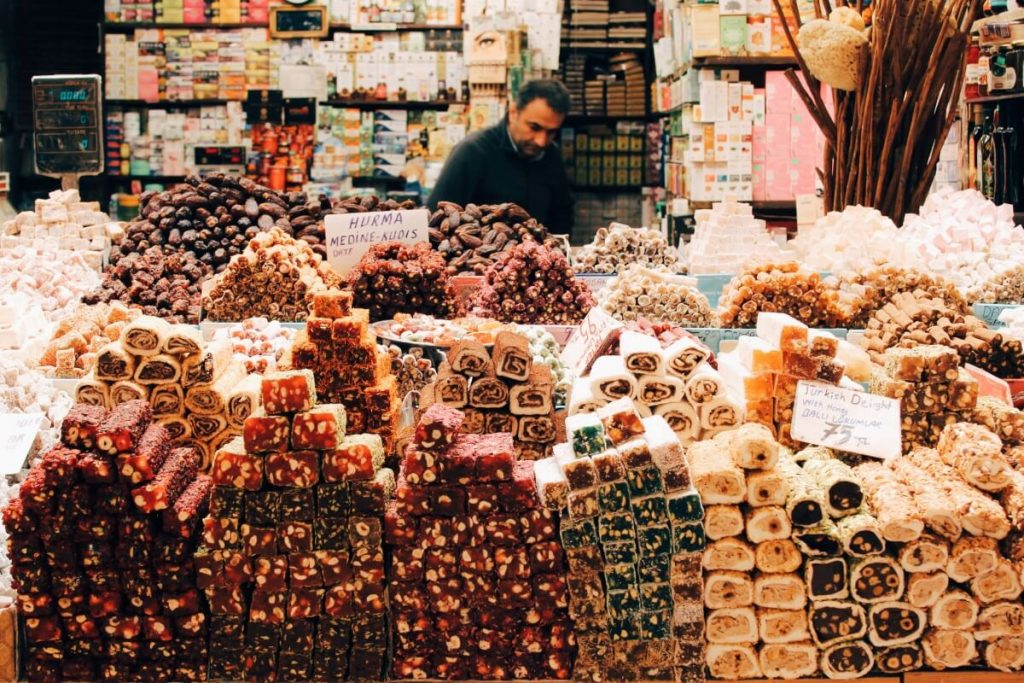 Baklava and other sweets in an Istanbul market