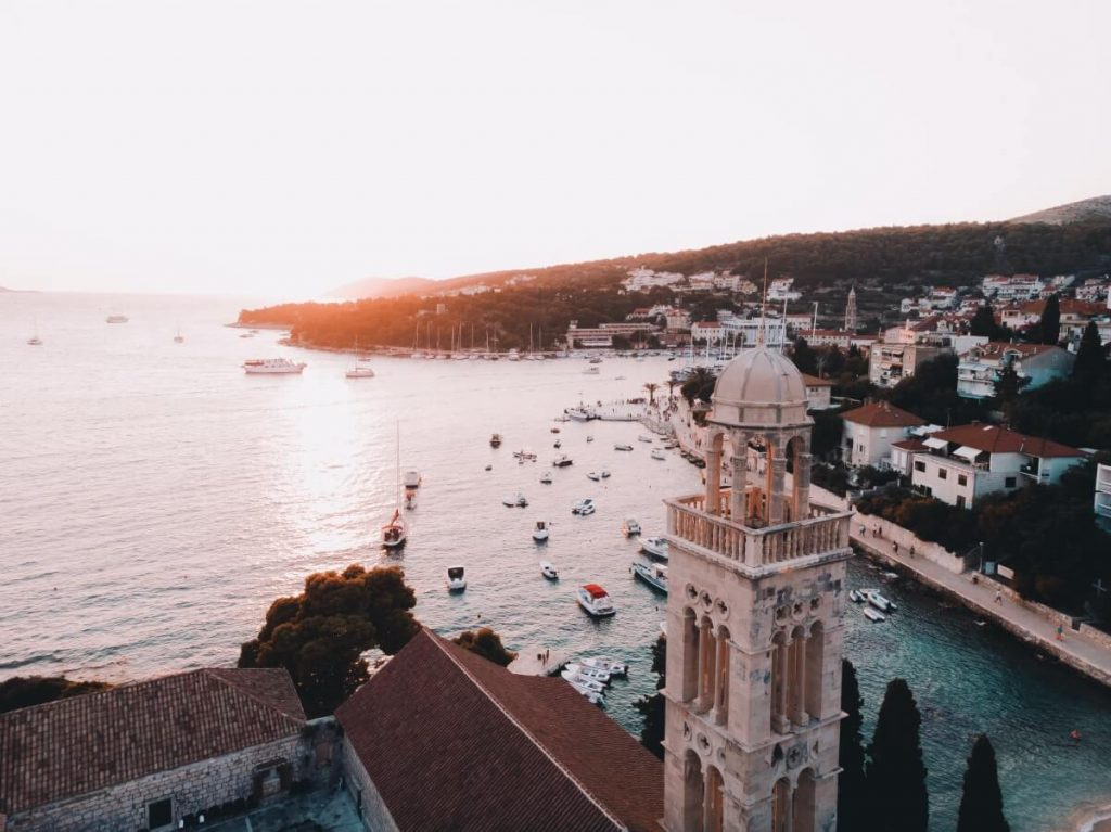 A gorgeous sunset over Hvar Town on Hvar Island, Croatia
