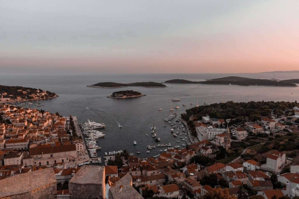 View of Hvar Bay Croatia