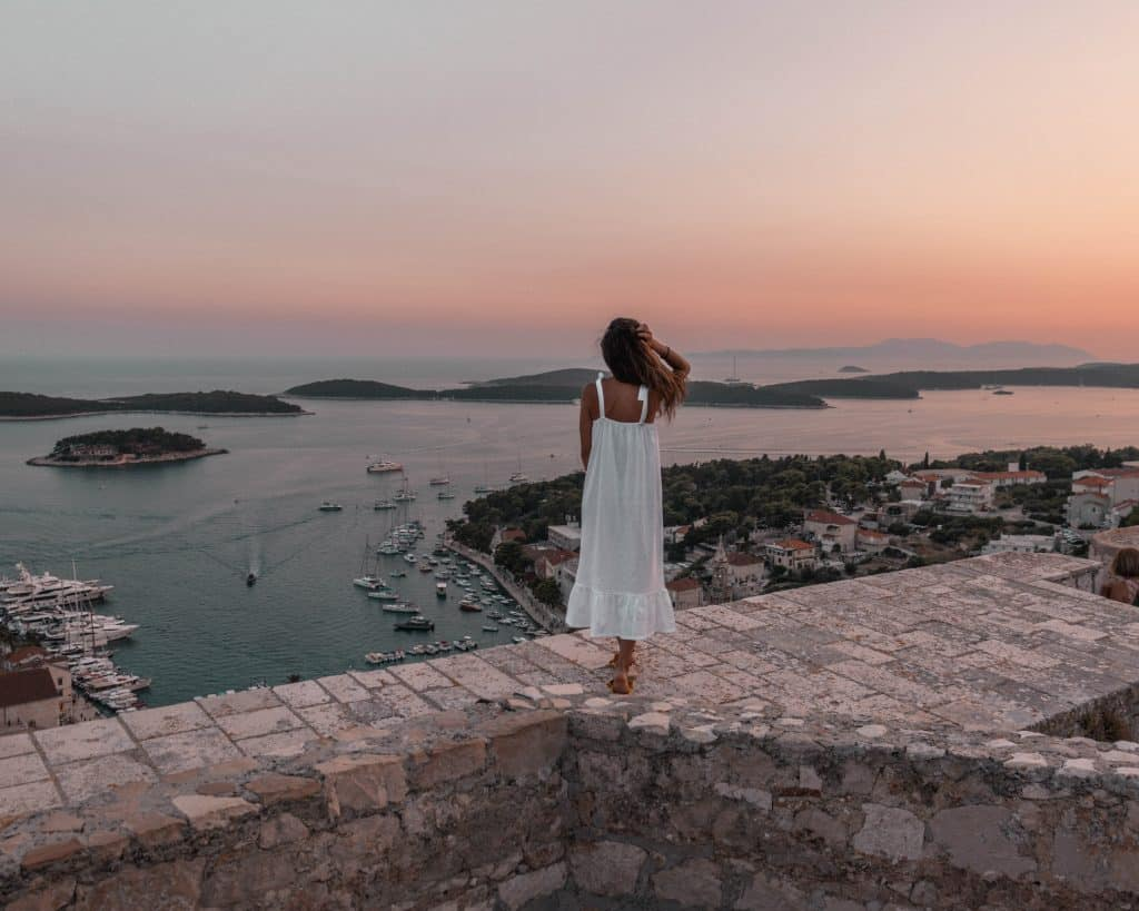 Sunset over Hvar Town from the fortress | Croatia solo travel