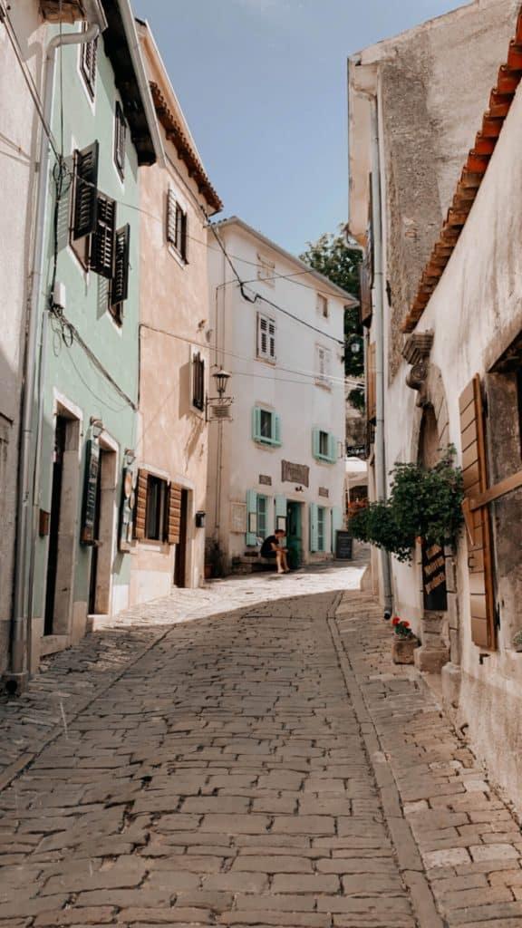 Cobblestone streets of Istria Croatia