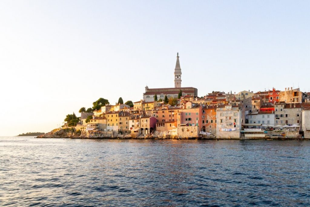 View of Rovinj Croatia from the harbor