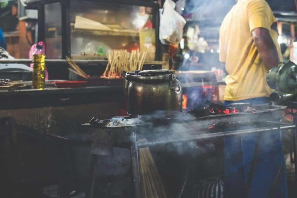 Food vendor stall at Gianyar Night Market in Bali