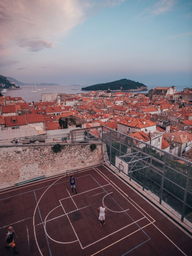Basketball court in the middle of Dubrovnik's historic walls