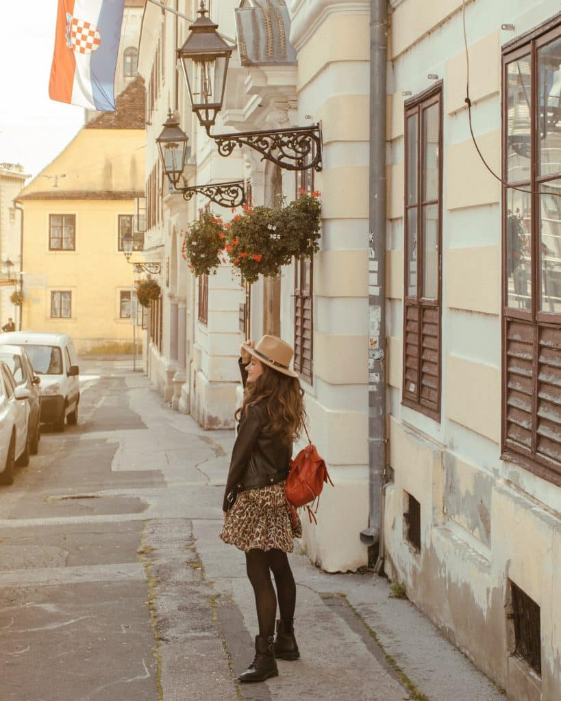 Walking around the Upper Town in Zagreb, Croatia