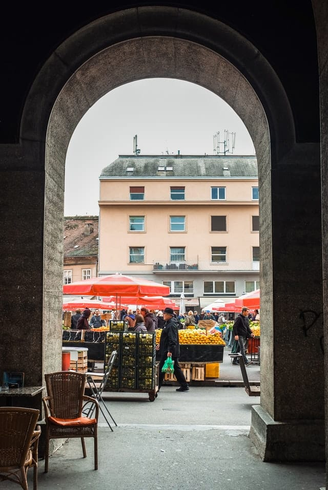 Dolac Farmer's Market in Zagreb, Croatia