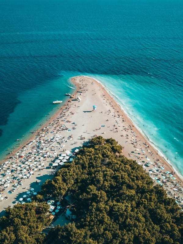 A birds-eye view over one of the most beautiful beaches in Croatia, Zlatni Rat, on the island of Brac