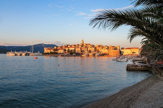 View of Korcula at sunset