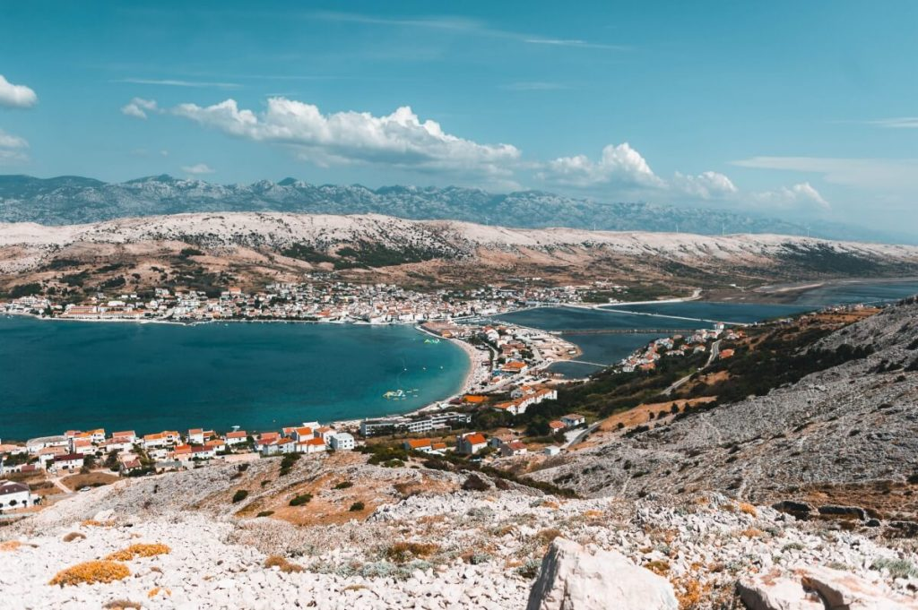 A view over the town of Novalja on Pag Island, one of Croatia's largest party destinations.