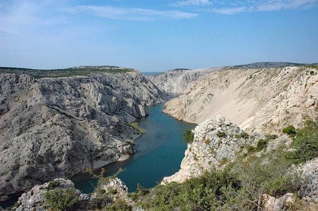 View over the beautiful Zrmanja Canyon in Croatia