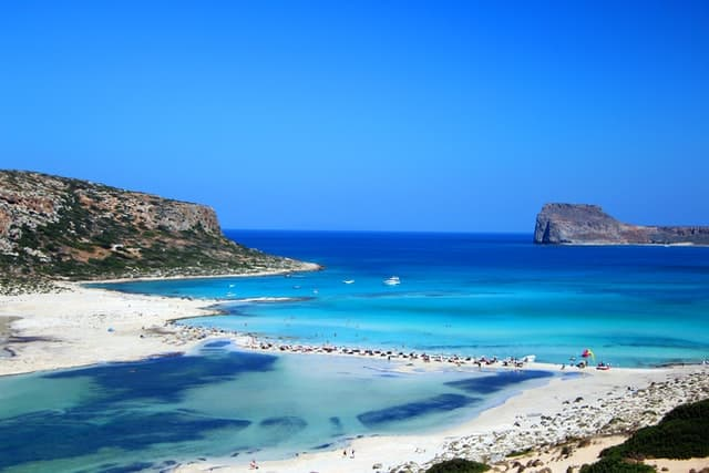 The spectacular white sand beach known as Balos Beach on Crete Island in Greece