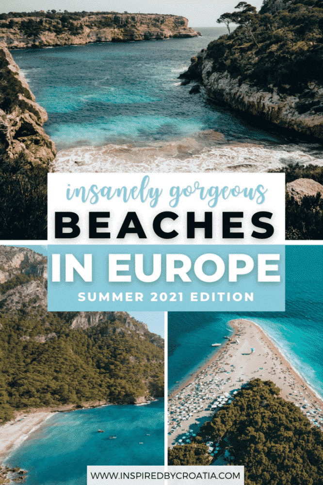 A collage of three gorgeous beaches in Europe featuring soft white sand, turquoise waters, and rugged coastlines.