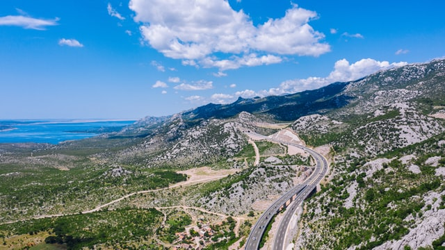 Highway road passing through Jasenice Croatia
