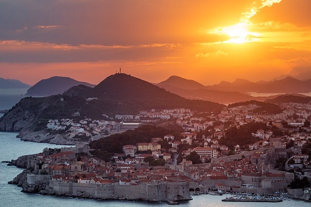 A stunning view at sunset of the medieval town of Dubrovnik, Croatia