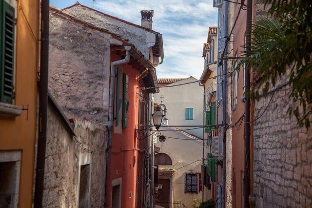 A narrow stone street in Istria Croatia