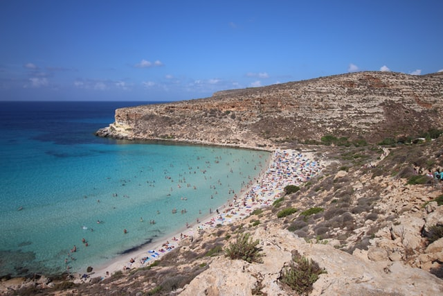 Spiaggia dei Conigli beach on the island of Lampedusa, near Sicily, Italy.