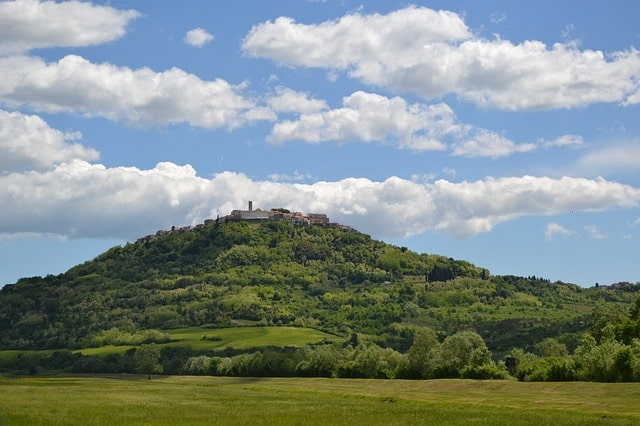 A charming hilltop town known as Motovun in the Istria region of Croatia.