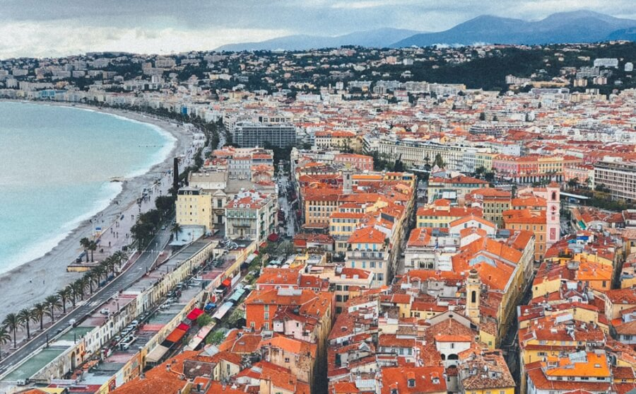 A beautiful view of the Riviera in Nice, France