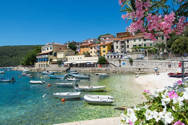 View of the beach and the small coastal town of Rabac Croatia