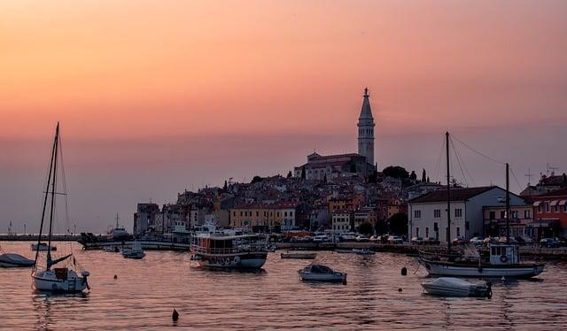 A beautiful sunset over Rovinj, a charming town in Istria, Croatia
