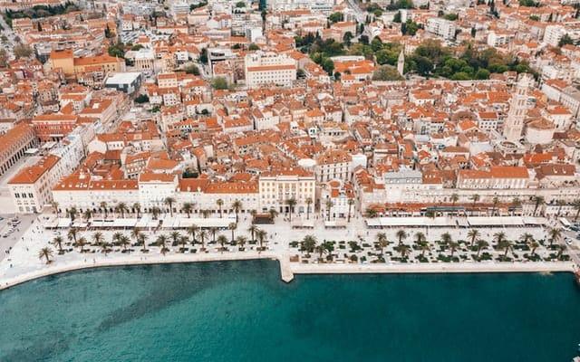 Bird's-eye-view of the waterfront promenade in Split, Croatia