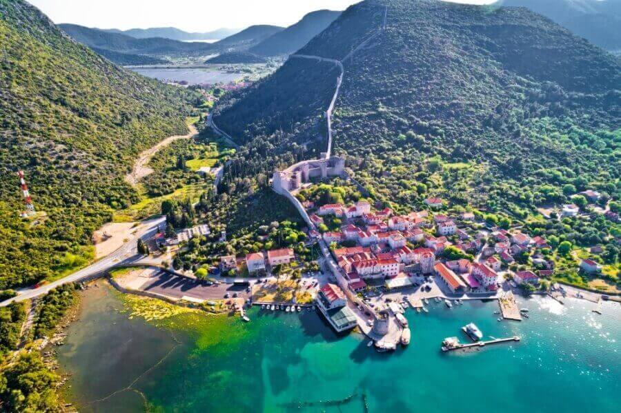 A beautiful aerial view of Ston Croatia