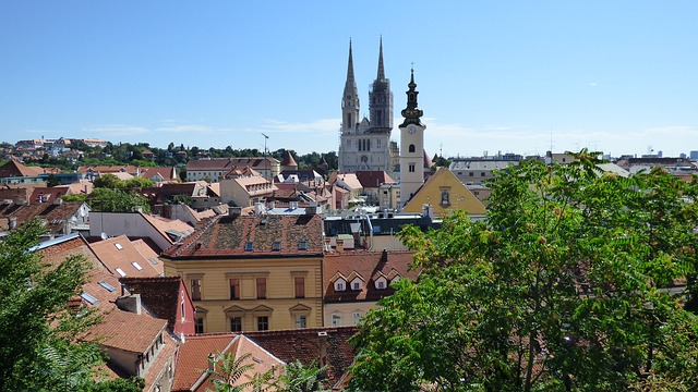 A view of Zagreb's orange rooftops and beautiful cathedral on a sunny day