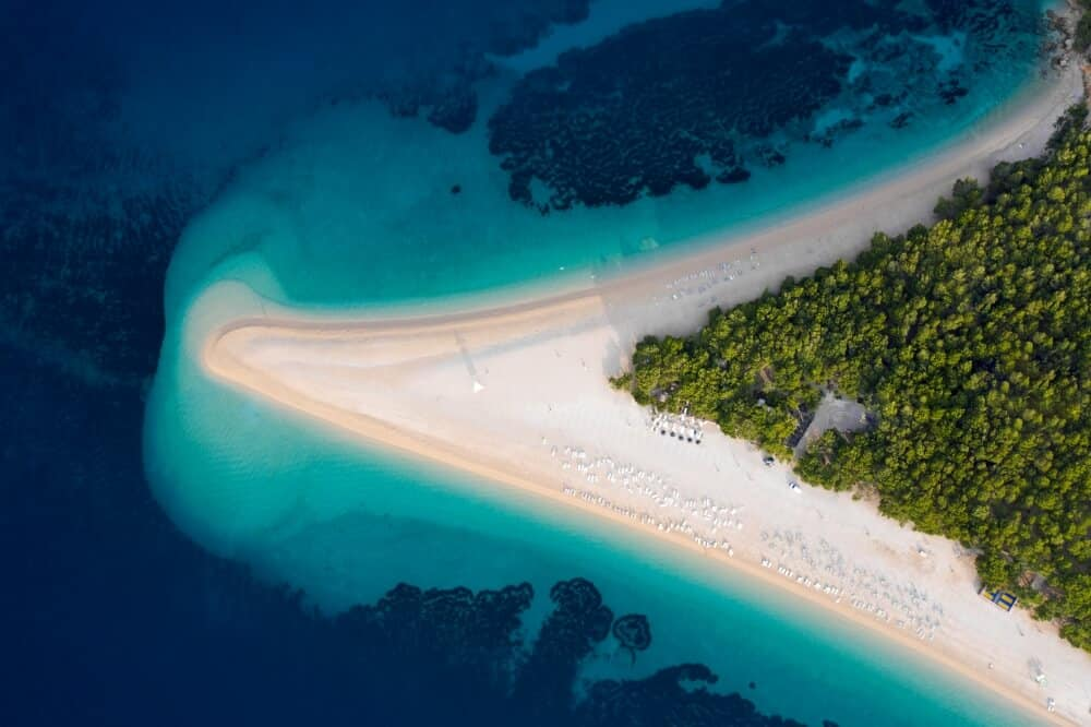 An aerial view of the stunning Zlatni Rat beach in Croatia.