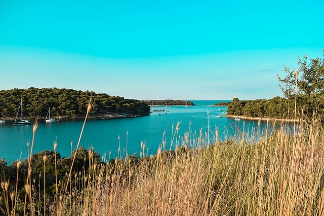 View of islands and the blue Adriatic Sea near Pula, Croatia