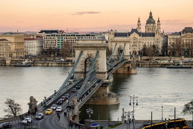 A beautiful view over the Széchenyi Chain Bridge in Budapest, Hungary
