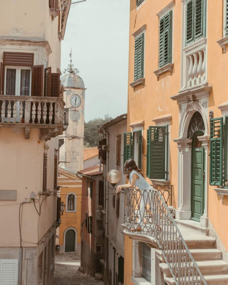 The charming town of Labin, filled with pastel-colored houses and charming alleyways.